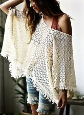 NEW Free People ivory Open Lace Crochet Fringed Pullover Poncho Cape O / S