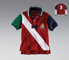 Ralph Lauren Boys Polo Shirt  Banner Short Sleeve Red White Green Navy XL 20