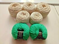 Ornaghi Filati Elba 100% Cotton Yarn (Emerald and Off-White) - 400 gr