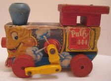 """Darling Antique Paper Litho Wood Pull Toy PUFFY Train Eng 5.5"""" Fisher Price 1951"""
