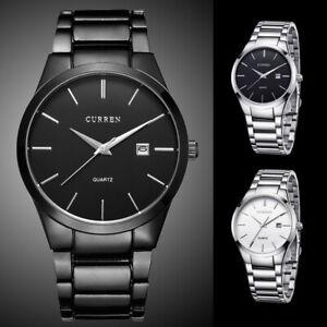 Curren Mens Black Stainless Steel Strap Analog Sport Date Day Quartz Wrist Watch