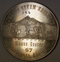 1867-1967 Alaska Purchase Centennial Kiwanis Steam Railroad BU Nickel Medal