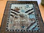 """vintage mongolian rug. 63""""x 59"""" colors, browns, beiges and blues. Beautiful Rug"""