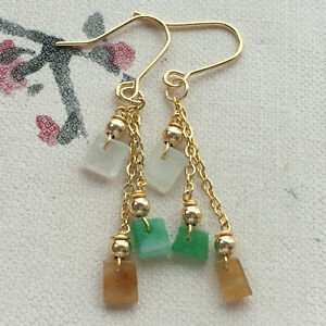 Certified natural A grade JADE Jadeite 3 color carving Lucky Earrings 耳环 0480