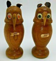 Wood Owl Salt Pepper Shakers Googly Eyes Japan Mid-century Woodcraft Vtg 60s 70s
