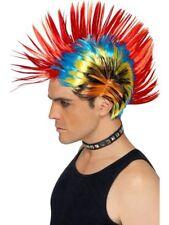 AÑOS 80 street punk Peluca Multicolor Mohawk Unisex Disfraz 1980s