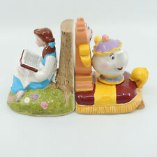Disney Beauty & Beast Book Ends Ceramic Belle Mrs Potts Cogsworth Japan