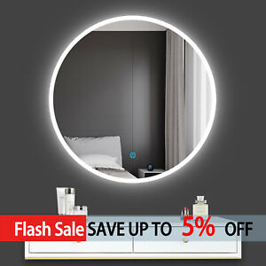 Bathroom Round Led Mirror Sensitive Smart Single Touch Demister Pad Wall Mounted