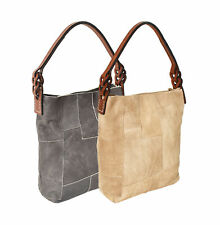 Women's Leather Patchwork Boho Chic Purse Quilted Lined Transport Tote Handbag