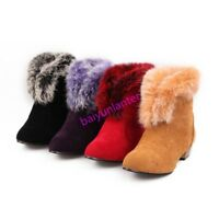 New Ladies Block Low Heel Fur Trim Ankle Boots Faux Suede Winter Warm Shoes Size