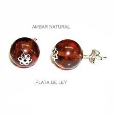 PENDIENTES AMBAR NATURAL 12 mm y Flor calada. Todo plata 925 +  estuche