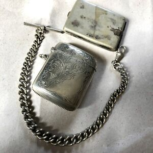 Joblot Antique Vesta Case Match safe Pocket Watch Albert Chain Silver Plate Prop