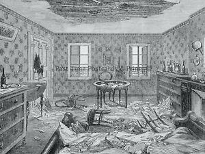 1871 Print FRANCE PARIS - BOMBARDMENT OF PARIS (1) Franco Prussian War