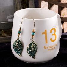 Women Bronze Hollow Leaf Beads Drop Dangle Earrings Ethnic Vintage Ear Jewelry