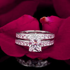 3.2ct Princess Diamond Channel Engagement Ring Wedding Band Solid 14k White Gold