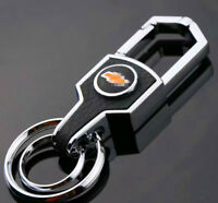 New Double Ring Car Logo Metal Leather Key chains Silver keyring for Chevro-let