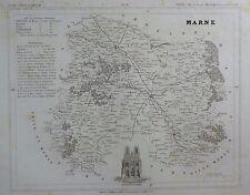 Carte du Département de la MARNE gravée sur acier par Alés Petit Atlas National