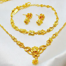 Necklace Bracelet Earrings Flower Set Women's Yellow Gold Filled Elegant Jewelry