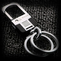 Business Modern Men Stainless Steel Keychain Loop Keyring Keyfob Belt Key Holder