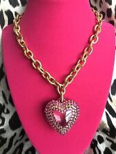 Tarina Tarantino Vintage Pink Clear Lucite Crystal Puffy Heart Gold Necklace