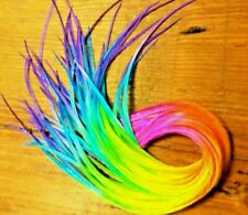 """Solid feather hair extensions tie dye Ombre Neon rainbow 10"""" or longer  beads"""
