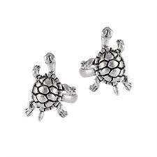 Fun Sterling Silver TURTLE Design Cuff Earrings