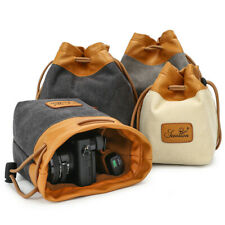 SLR Camera Lens Bag Waterproof Canvas Portable Vintage Soft Cover for Sony Canon