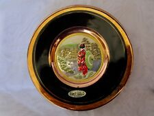 Japanese Woman Overlook Pagoda  -  CHOKIN Plate  -  24 KT Gold Edged
