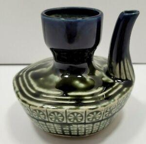 Japanese Ceramic Blue Green Flower Glossy Glazed Dispenser Soy Sauce Oil Bottle