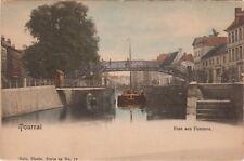 c1900 Tournai Belgium Tinted POSTCARD Pont aux Pommes Bridge o'er River Scheldt
