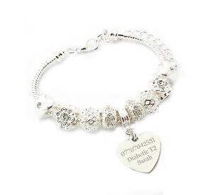 SanaBelle™ Personalised Engraved Medical Alert ID Charm Bracelet
