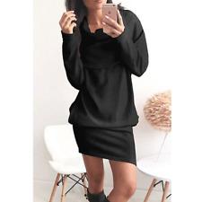 Winter Women Ladies Casual Turtleneck Bodycon Long Sleeve Sweater Mini Dress
