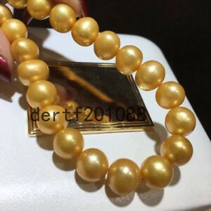 Bead Jewelry 11-12mm Natural South Sea Gold Pearl Necklace AAAA