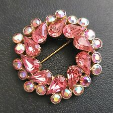 Unsigned WEISS Vintage Pink Pear Rhinestone AB Crystal Flower Brooch Pin 794