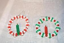 Lot 2 Vintage Christmas Handmade Bead Ornaments Candle Wreaths