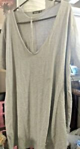 Boohoo Gray Cotton Dress Scoop Neck with Neck Detail Size 18