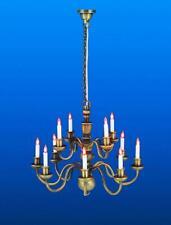 Dolls House Nostalgic 12 Arm Candle Chandelier Antique Brass Electric Lighting