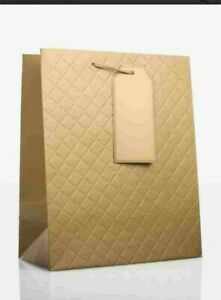 6 Gold Embossed Large BAGS - CHRISTMAS BIRTHDAY PRESENT PARTY GIFT BAG