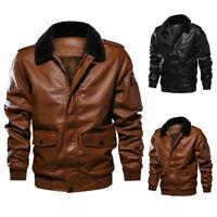 Winter Men PU Pilot Leather Biker Jacket Warm Bomber Jacket Fleece Coat Outwear