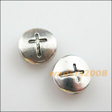 10 New Charms Tibetan Silver Tone Round Cross Flat Spacer Beads 10mm