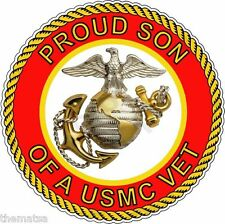 PROUD SON OF A MARINE CORPS VET VETERAN HELMET BUMPER STICKER DECAL MADE IN USA