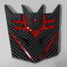 Car Transformers Decepticon Trunk Badge Emblem Sticker Carbon Fiber  Red