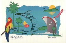 "Map of West Indies, Caribbean, Puerto Rico etc, Cruise -- Jumbo 9"" x 6"" Postcard"