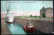 CANADA~1900's SAULT STE. MARIE~TUGBOAT AND SHIP IN THE LOCKS~LONGEST IN WORLD