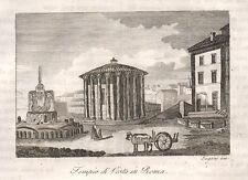 1840 Tempio di Vesta in Roma incisione su rame