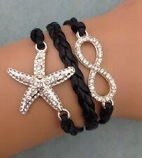 Bracelet noir strass avec etoile des mers  lien infini en strass. Tendance 2014