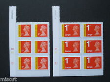 2013 - 1st Class & 1st LARGE MA13 Royal Mail Signed for Recorded Cyl Blocks of 6