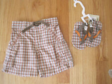 Toddler boy LOT Old Navy Tan & Orange Plaid shorts and sandals set NWOT 3m 6m