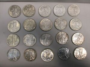 LOT OF TWENTY 1943 US WALKING LIBERTY SILVER HALF DOLLARS