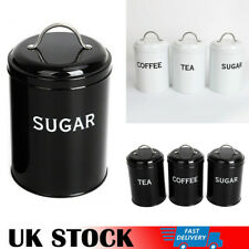 VINTAGE Set of 3 TEA COFFEE SUGAR Jars Storage Canisters +Lids Kitchen Container